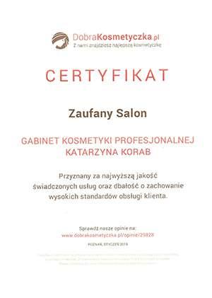 Certyfikat - Zaufany Salon Kraków